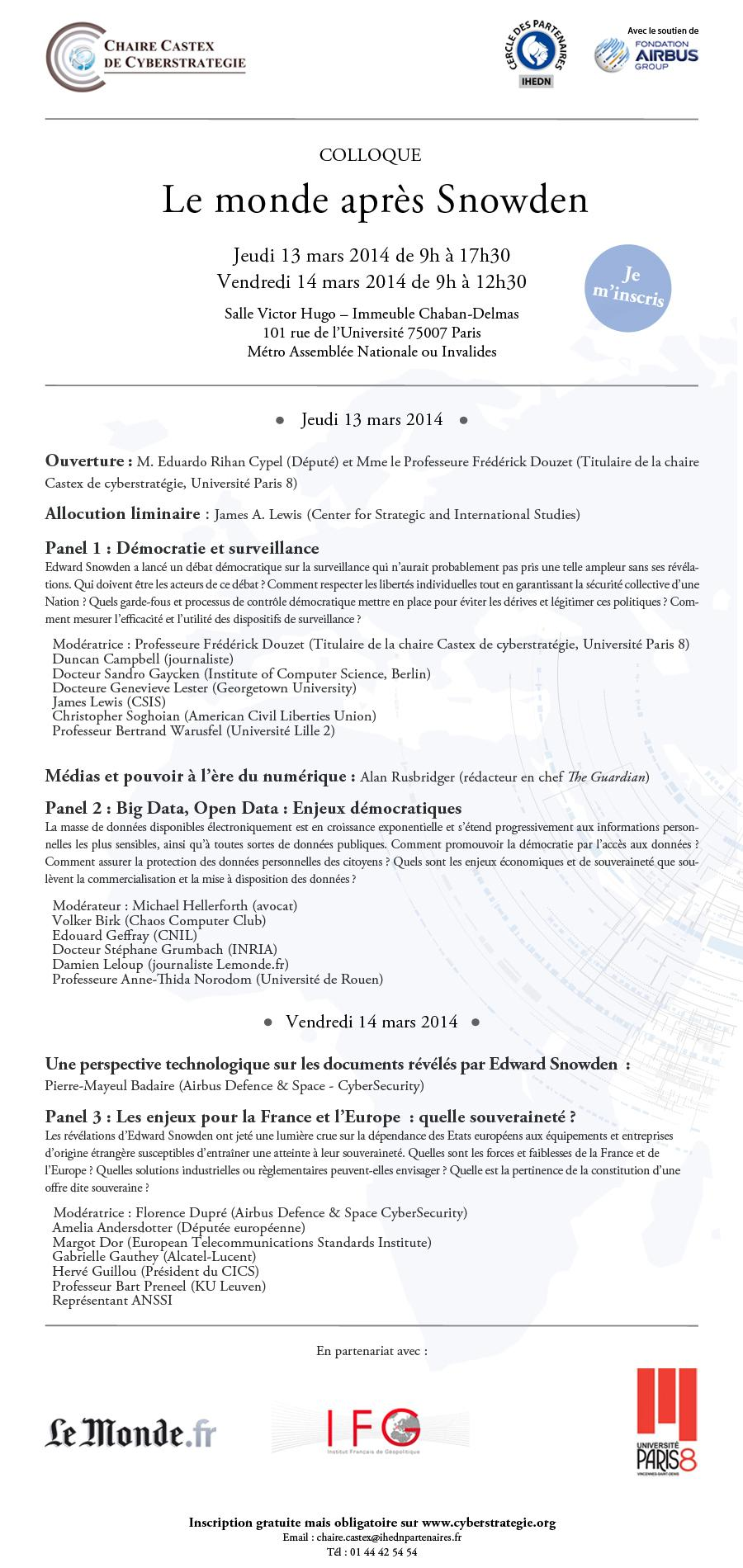 Colloque Le monde après Snowden - 13 et 14 mars